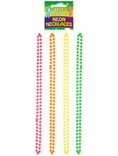 4 Neon Bead Necklaces - 80s Fancy Dress Costume Accessory Rave Punk Gay Pride