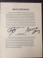 GENUINE 'THELMA AND LOUISE' MUSIC LIST SIGNED BY SUSAN SARANDON AND GENA DAVIS
