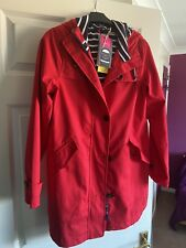 BNWT JOULES RIGHT AS RAIN RED LONG COAT SIZE 8/10 RRP £125