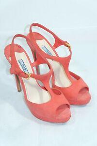 Prada Red Suede High Heels Pumps Sandals Size 38.5 8.5