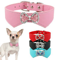 Bling Bow Dog Collar PU Leather Crystal Rhinestone Pet Puppy Cat Collars S M New