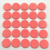 Lego 25 New Coral Tiles Round 2 x 2 with Bottom Stud Holder Flat Smooth Parts