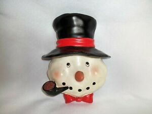 Vintage Ceramic FROSTY THE SNOWMAN Christmas Wall Hanging Plaque Décor