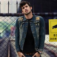 Men's Destroyed Jean Jacket BF Style Ripped Vintage Slim Fit Denim Coat Fashion