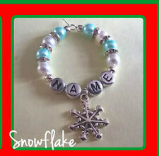 """Personalised """"Christmas Snowflake"""" Wine Glass Charm, Handmade with Rondelle's"""