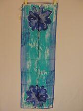Vtg Nwt Vera Neuman The Fig Leaf Blue Watercolor Floral Scarf 14x44 Japan