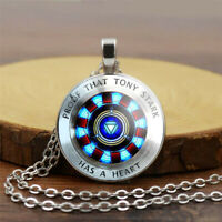 1pcs Iron Man Endgame Tony Stark Pendant Cabochon Necklace Chain Avengers Glass
