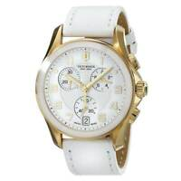 Victorinox Swiss Army Men's Watch Chrono Classic White Dial Leather Strap 241511