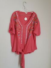 *NWT* Boutique ODDY Embroidered Flower Shirt Blouse Size 1XL