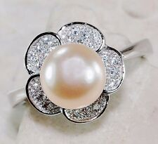 Rose Pearl & White Topaz 925 Solid Genuine Sterling Silver Ring Jewelry Sz 7