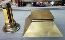 1930's Art Deco Egyptian Revival Brass Pyramid Inkwell and Pen Holder Set