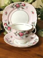 Vintage Colclough Bone China Tea Cup Saucer Side Plate Pink Rose Gold RARE
