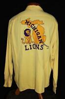 RARE VINTAGE 1940'S YELLOW EMBROIDERED LIONS  RAYON GABARDINE SHIRT SIZE XLARGE