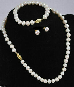 8-9 mm  natural  White South Sea Pearl  Necklace Bracelet Earrings