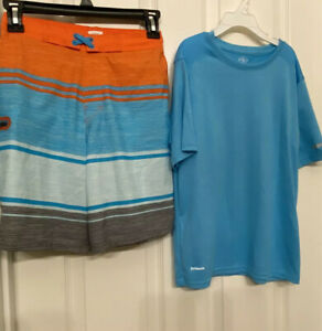 Boy's Athletic 10-12 Light Blue Swim top And Swimming Shorts Blue, Orange, Gray