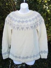 S - Vintage 70's White & Grey Icelandic Knit Wool Jumper Nordic Sweater - C806