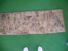 Vintage Belgium Tapestry -  Party Scene - 20 x 58 inches
