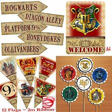 Harry Potter PARTY PACK - 12 Flag Bunting/Welcome Sign/5 Arrows+6 Cupcake Picks