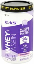 EAS Whey+Casein Protein Powder 6 HR Muscle Building Strawberry 2LB Exp 5/2019