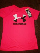 NWT UNDER ARMOUR NEON PINK LOGO SS ACTIVE SHIRT: SIZE: YLG