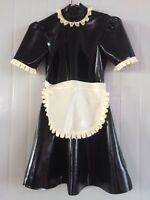 Latex Rubber Gummi Black and White Stylish Lace Maid Dress Size XS-XXL