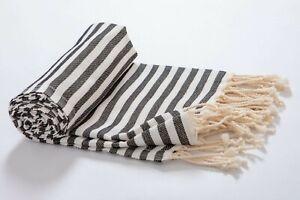 Stripe Premium Beach Towel Black, Soft Absorbent Large Turkish Bath Towel