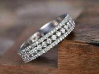 2.20Ct Round VVS1 Diamond Half Eternity Wedding Band Ring 14K White Gold Finish