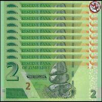 Zimbabwe - 2 Dollars 2019 - Pick- NEW - Set 10 PCS - UNC