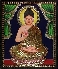 Tanjore Buddha Painting Handmade South Indian Thanjavur Religious Relief Art