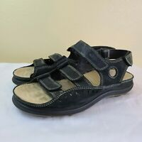 Ecco Mens Size 41 / US Size 7.5 Black With Tan Leather Sandals