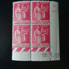 FRANCE TIMBRE TYPE PAIX N°370 COIN DATÉ 18.01.1939 NEUF ** LUXE MNH COTE 25€