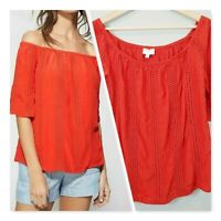 [ WITCHERY ] Womens Red Eyelet Off the shoulder Blouse Top | Size AU 10 or US 6