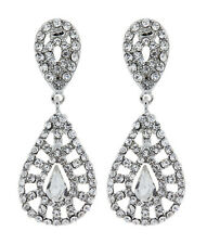 Clip On Drop Earrings - silver with a clear stone and crystals - Elsa