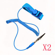 2X Bule 1.8m Anti-Static ESD Adjustable Wrist Strap Discharge Band Grounding