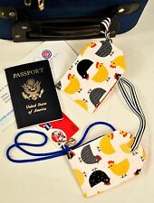 """hand crafted fabric luggage tags set of 2 secure info 3.5"""" X 5.5"""" chicken lover!"""