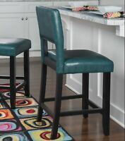 "24"" Modern Counter Height Stool Upholstered Solid Wood Kitchen Dining Chair Blue"