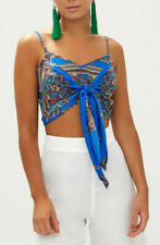 NEW PrettyLittleThing Blue Scarf Print Strappy Tie Front Top UK 10