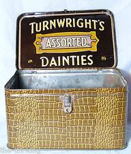 FIGURAL CROCODILE REPTILE SUITCASE TURNWRIGHTS TOFFEE TIN trunk hat box