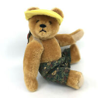 Teddy Bear Gold Mohair Plush Jointed 19cm 7.5in Germany Glass Eyes no ID Vintage