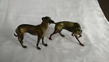 Pair of Cast Hunting Dogs - Bronze Look - Statue / Figurine