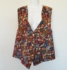 Facets by Mirrors Womens Vest Sz 2X Tapestry Bears Sleeveless Button Up