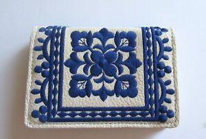 Brighton Casablanca Card Case - off white color- blue embroidery- leather