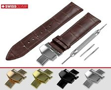 Fits BREGUET Dark Brown Genuine Leather Watch Strap Band For Clasp Buckle Mens