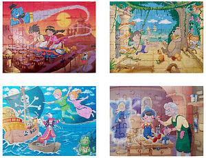 GRAFIX 4 x Fairytale Jigsaw Aladdin Pinocchio Jungle Book Peter Pan Family Fun