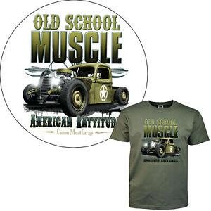 Muscle Car T-Shirt Oldschool Hot Rod Auto US Army v8 Kustom Rat Camion 1073 Ol