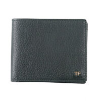 New $390 TOM FORD Green Leather Classic Bifold Wallet with Silver Logo