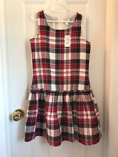 Children's Place Red Plaid Sleeveless Fully Lined Ruffled Jumper Dress Sz 12 NWT
