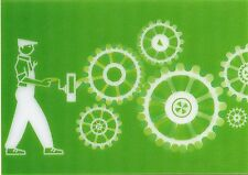 Green GEARS - 3D and Animated Lenticular Postcard  Greeting Card