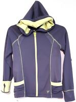 JUSTICE – Gray and Neon Greenish Yellow Shimmer Hoodie with Thumb-Hole Cuffs Siz
