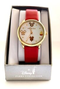 DISNEY PARKS COLLECTION SNACK TIME RED WRIST WATCH
